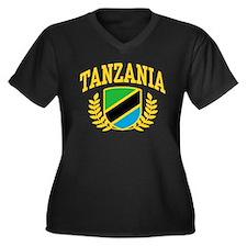 Tanzania Women's Plus Size V-Neck Dark T-Shirt