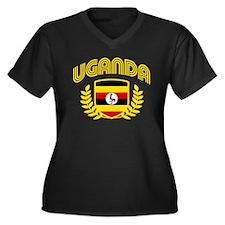 Uganda Women's Plus Size V-Neck Dark T-Shirt
