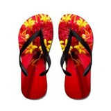 Red and Yellow Flower Flip Flops