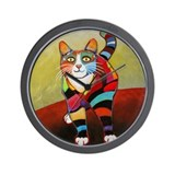 New Cat of Many Colors Wall Clock