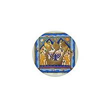 Hebrew Blue Shin Mini Button