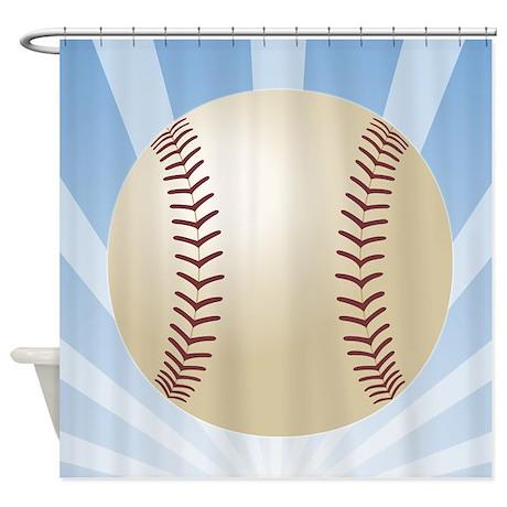 Baseball Superhero Shower Curtain by sportsnuts