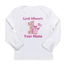 1st Birthday Girl Owl Long Sleeve Infant T-Shirt