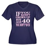 Age 40 Women's Plus Size V-Neck Dark T-Shirt