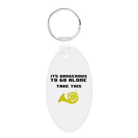 Take the Horn Aluminum Oval Keychain