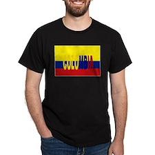 Colombia flag & written Black T-Shirt