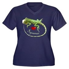 Love Iguanas Women's Plus Size V-Neck Dark T-Shirt