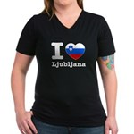 I love Ljubljana Women's V-Neck Dark T-Shirt
