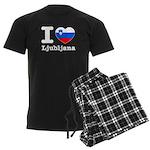 I love Ljubljana Men's Dark Pajamas