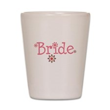 Bride Pink Flowers Shot Glass
