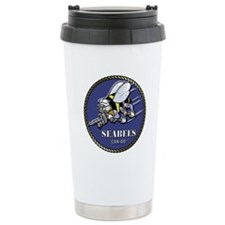USN Seabees Official Beveled Ceramic Travel Mug