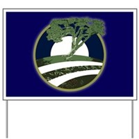Barack Obama O Campaign Icon with a Tree Lawn Sign