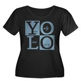 YOLO Women's Plus Size Scoop Neck Dark T-Shirt
