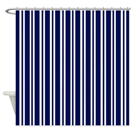 Navy Blue White Stripes Shower Curtain By