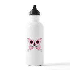 Hot Pink Sugar Skull Butterfl Water Bottle