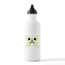Yellow Sugar Skull Butterfly Water Bottle