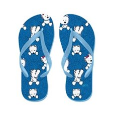 Blue Pocket Westie Flip Flops