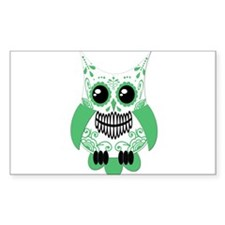 Green White Sugar Skull Owl Decal