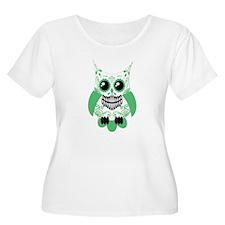 Green White Sugar Skull Owl T-Shirt