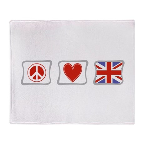 Peace, Love and Great Britain Throw Blanket