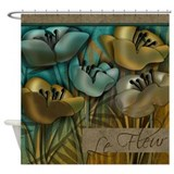 Aqua and gold Le Fleur Floral Shower Curtain