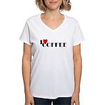 I LOVE FREEDOM COFFEE™ Women's V-Neck T-Shirt