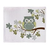 Polka Owl in Tree Throw Blanket