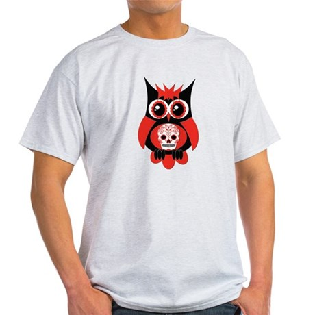 Red Sugar Skull Owl Light T-Shirt