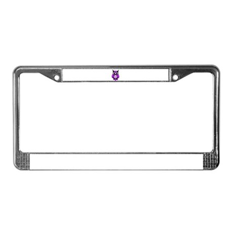 Purple Sugar Skull Owl License Plate Frame