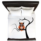 Orange Sugar Skull Owl in Tre King Duvet