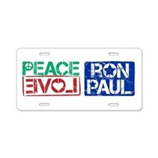 Peace Love Ron Paul Aluminum License Plate