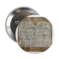 "Ten Commandments 10 Laws Desi 2.25"" Button (1"