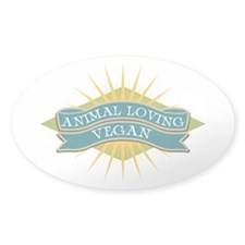 Animal Loving Vegan Sticker (Oval)