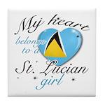 St. Lucian Valentine's designs Tile Coaster