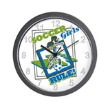 Soccer Girls Rule Wall Clock