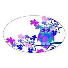 Aqua Hibiscus Owl in Tree Decal