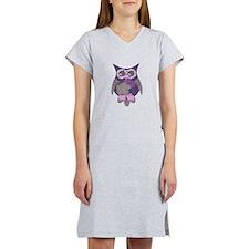 Purple Hibiscus Owl Women's Nightshirt