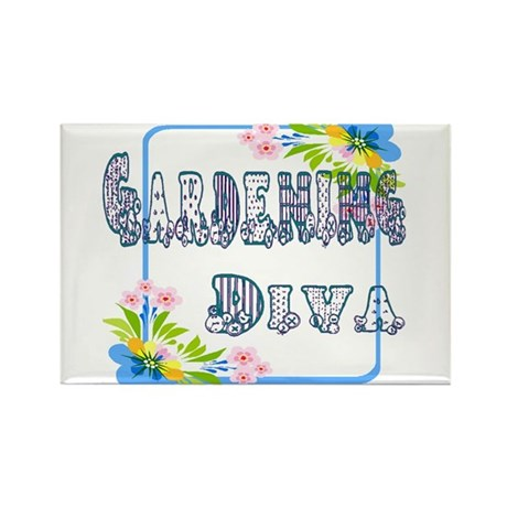 Gardening Diva Rectangle Magnet (10 pack)