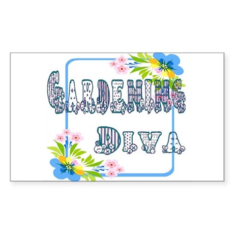 Gardening Diva Rectangle Sticker