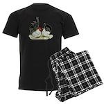 Japanese Black White Bantams Men's Dark Pajamas