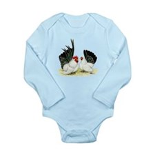 Japanese Black White Bantams Long Sleeve Infant Bo