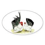 Japanese Black White Bantams Sticker (Oval 50 pk)