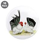 "Japanese Black White Bantams 3.5"" Button (10"