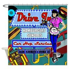 At the Drive In Retro 50's Memories Shower Curtain