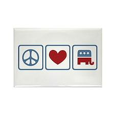 Peace Love Republicans Rectangle Magnet