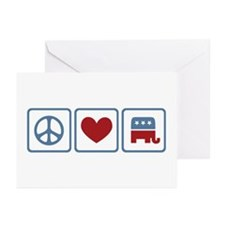 Peace Love Republicans Greeting Cards (Pk of 10)