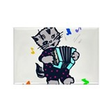 Retro Accordion Kitten Rectangle Magnet