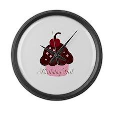 Birthday Girl Cupcake Large Wall Clock