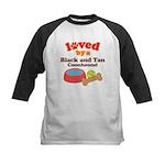 Black and Tan Coonhound Dog Gift Kids Baseball Jer