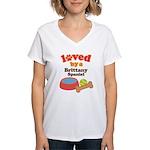 Brittany Spaniel Dog Gift Women's V-Neck T-Shirt